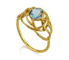 Bloosum ring with Bluetopaz