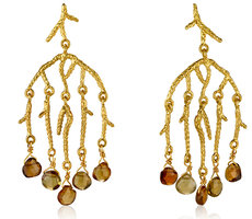 Tourmaline, Gold chandelier earrings