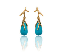 Turquoise, Gold drop earrings
