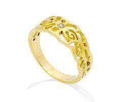 Engagement rose leaves ring