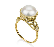 Pearl nature inspired engage ring
